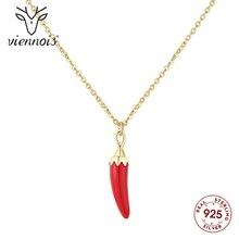 Viennois Nuovo Mini Peperoncino Rosso Collane di Cristalli da 925 in Argento Sterling Collana a Catena Color Oro per Le Donne