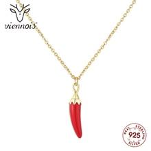 Viennois nouveau Mini Chili rouge colliers cristaux de 925 en argent Sterling or couleur chaîne collier pour les femmes