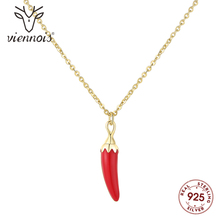Vienonis nowy Mini czerwone chili naszyjniki kryształy z 925 Sterling Silver złoty kolor łańcuch naszyjnik dla kobiet