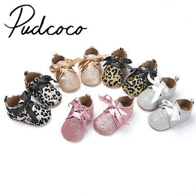 Pudcoco Newborn Baby Girls Boys Glitter Soft Shoes Shoes Size 0 To 18 Months