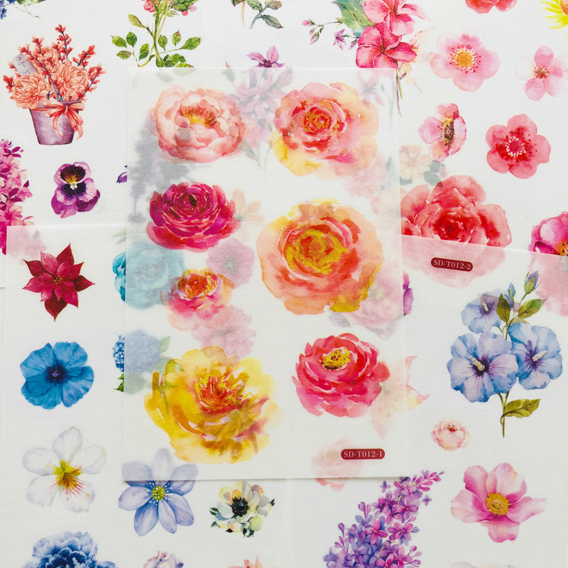 6 Sheets Gorgeous Flowers Peony Rose Washi Paper Sticker Decorative Adhesive Sticker