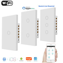 Wifi Smart Light Switch Glass Screen Touch Panel Voice Control Wireless Wall Switches Work with Alexa Google Home 1/2/3 Gang