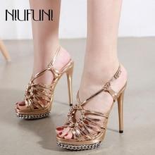Peep Toe Chain Platform Women Sandals Plus Size 34-42 Buckle Stiletto Ultra High