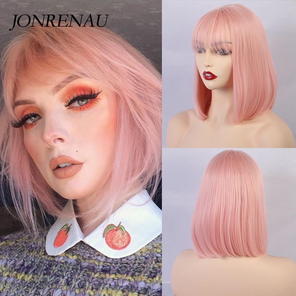 JONRENAU 12 дюймов короткие прямые синтетические волосы боб Омбре парики с челкой для женщин модные розовые вечерние парики или косплей