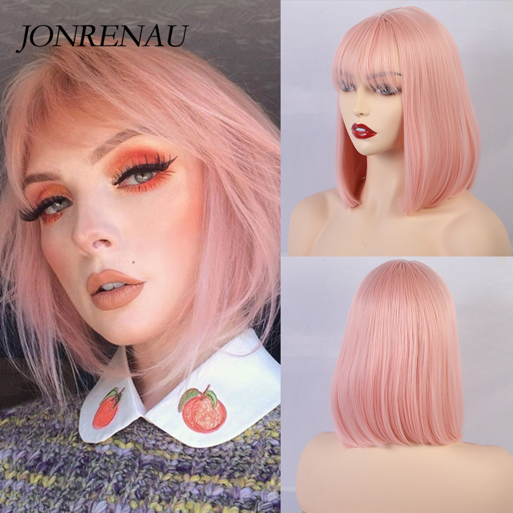 JONRENAU 12 Inches  Short Straight Synthetic Bob Ombre Hair Wigs With Bangs For Women Fashion Pink Party Wig Or Cosplay