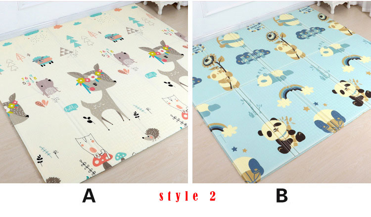 Hc8bc3778b18b488185aee3b5137fbcb4D 200*180cm Foldable Cartoon Baby Play Mat Xpe Puzzle Children's Mat Baby Climbing Pad Kids Rug Baby Games Mats