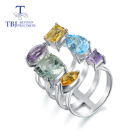 Tbj,8ct up Mix colorful Natural Gemstone Ring 925 sterling silver fine jewelry fashion design for women wife lady best gift