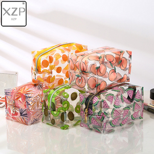 XZP Waterproof Transparent Cosmetic Cute Bags Storage Pouch Makeup Organizer Approved Clear Case Toiletry Bag PVC Zipper Travel(China)