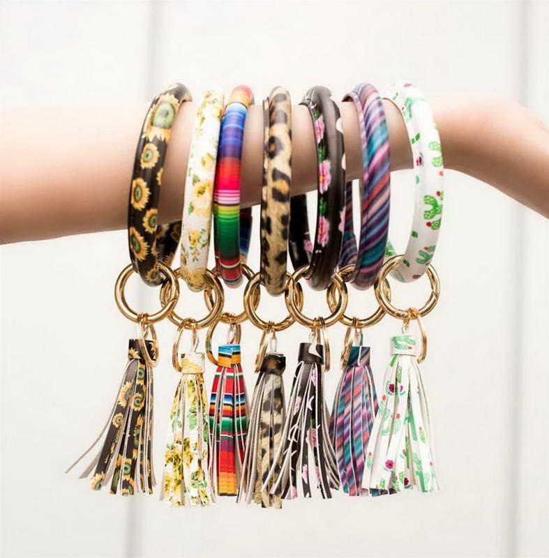 ZWPON Hot Sale PU Leather Tassel Big O Circle Key Chain Women Wristlet Keychain  Girl Key Ring Wrist Strap Wholesale