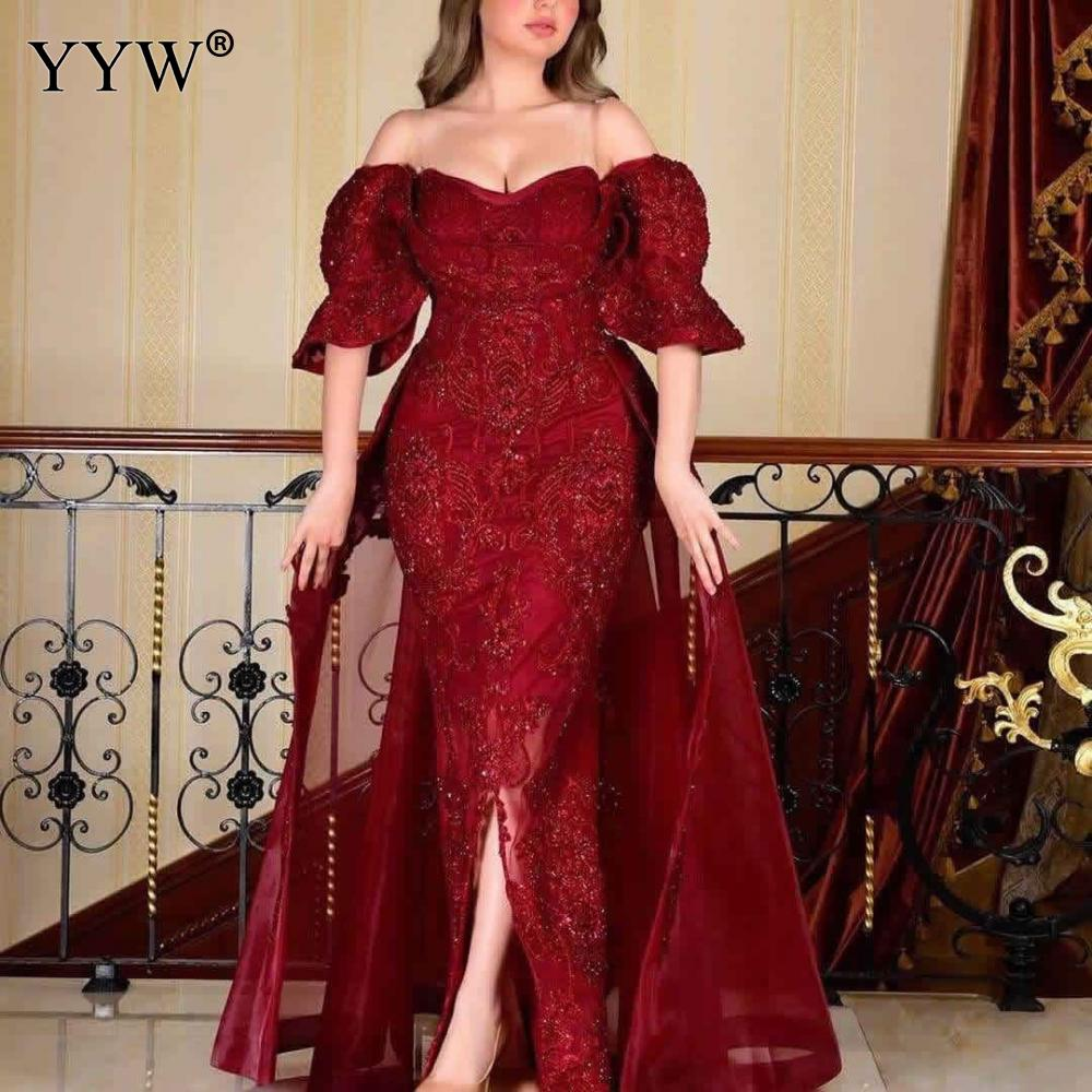 Women Evening Party Dress Red Vestidos Long Dress Sexy Party Dresses Ruffles Off Shoulder Plus Size Women Dresses 5