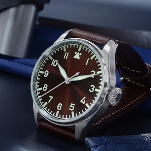 Image 4 - San Martin Pilot Men Mechanical Stainless Steel Watch Sapphire See through Case Back Luminous Leather Strap 100M Waterproof