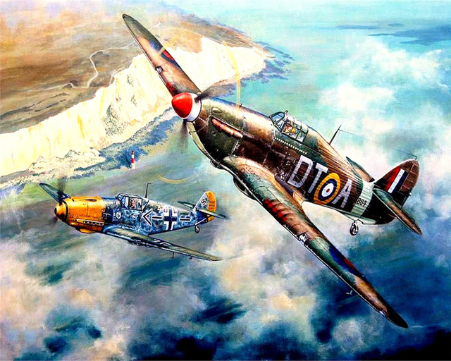 Paint By Numbers Adult Kit RAF Spitfire WW2 Dogfight War