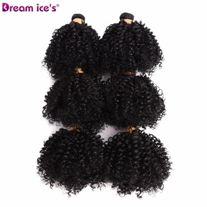 Image 3 - Dream Ices Bouncy Curly Synthetic Weave 6 Pcs/lot Natural Short Hair Welf Bundles Black Hair Weaving 6 Inch