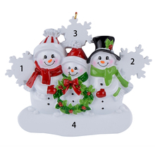 Snowman Family of 3 Resin Hang Christmas Ornaments With Glossy Snowflake As Craft Souvenir For Personalized Gifts or Home Decor