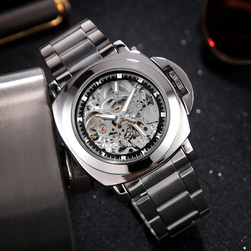 Fashion Luxury Brand Skeleton Mechanical Watch Men Automatic Hollow Stainless Steel Military Sport Watch Male Relogio Masculino