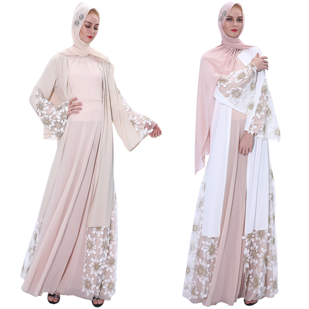 Luxury Muslim Embroidery Abaya Mesh Kimono Cardigan Dress Robe Gowns Tunic Jubah Katfan Middle East Eid Ramadan Arab Islamic