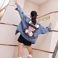 Jeans Jacket women 2019 Sequins Pearls Punk Batwing Sleeve Women's Denim Jacket Loose Vintage Streetwear Female Jacket Coat