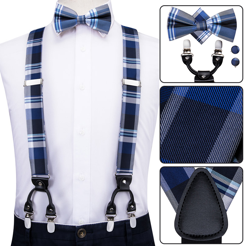 Hi-Tie Men Suspenders Plaid Fashion Wedding Various 6 Clips Party Pre-Tied Bowtie Pocket Square Set Adjustable Blue Braces