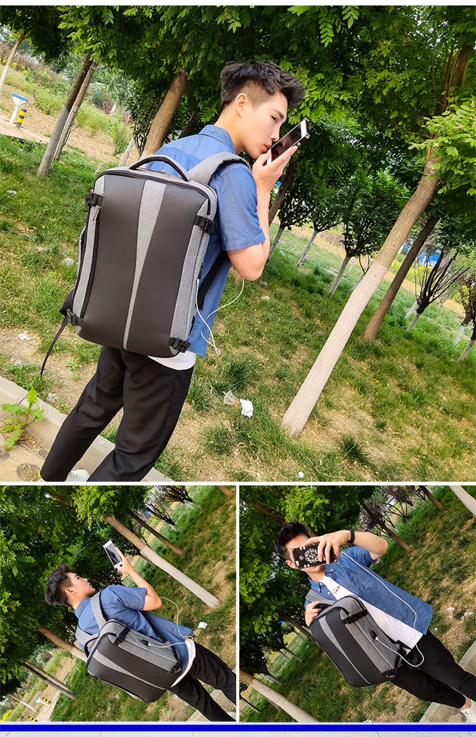 Men Backpack Anti Theft Travel Bagpack Laptop 15.6 Inch Notebook Waterproof Bags USB Charging Male Business Fashion Unisex Bag (11)