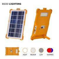 Linterna de Camping portátil iluminación Led con batería recargable Solar Panel de alimentación banco para teléfono LED lámpara de advertencia SOS al aire libre