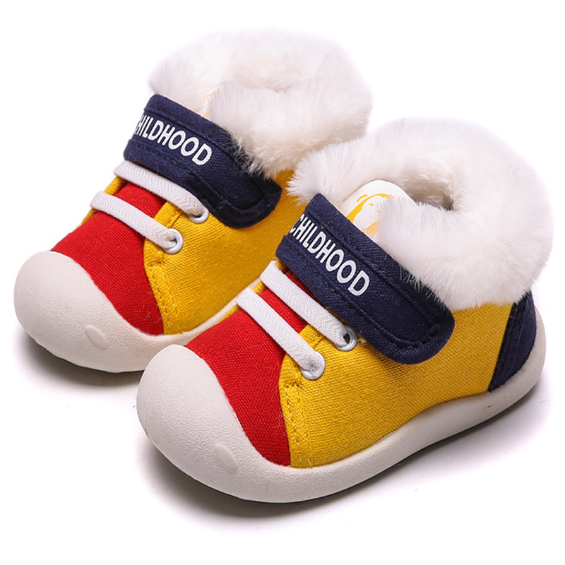 New Winter Baby Shoes First Walkers Boy Non-slip Kids Boots Shoes Newborn Baby Girl Shoes Warm Plush Infants Soft Sole Sneakers