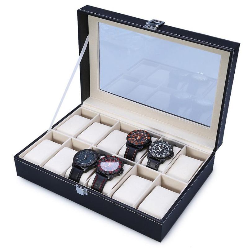 Moda 12 rejillas de cuero PU cajas de reloj caja de almacenamiento organizador de joyería de lujo caja de reloj de exhibición de anillo caja de exhibición negra
