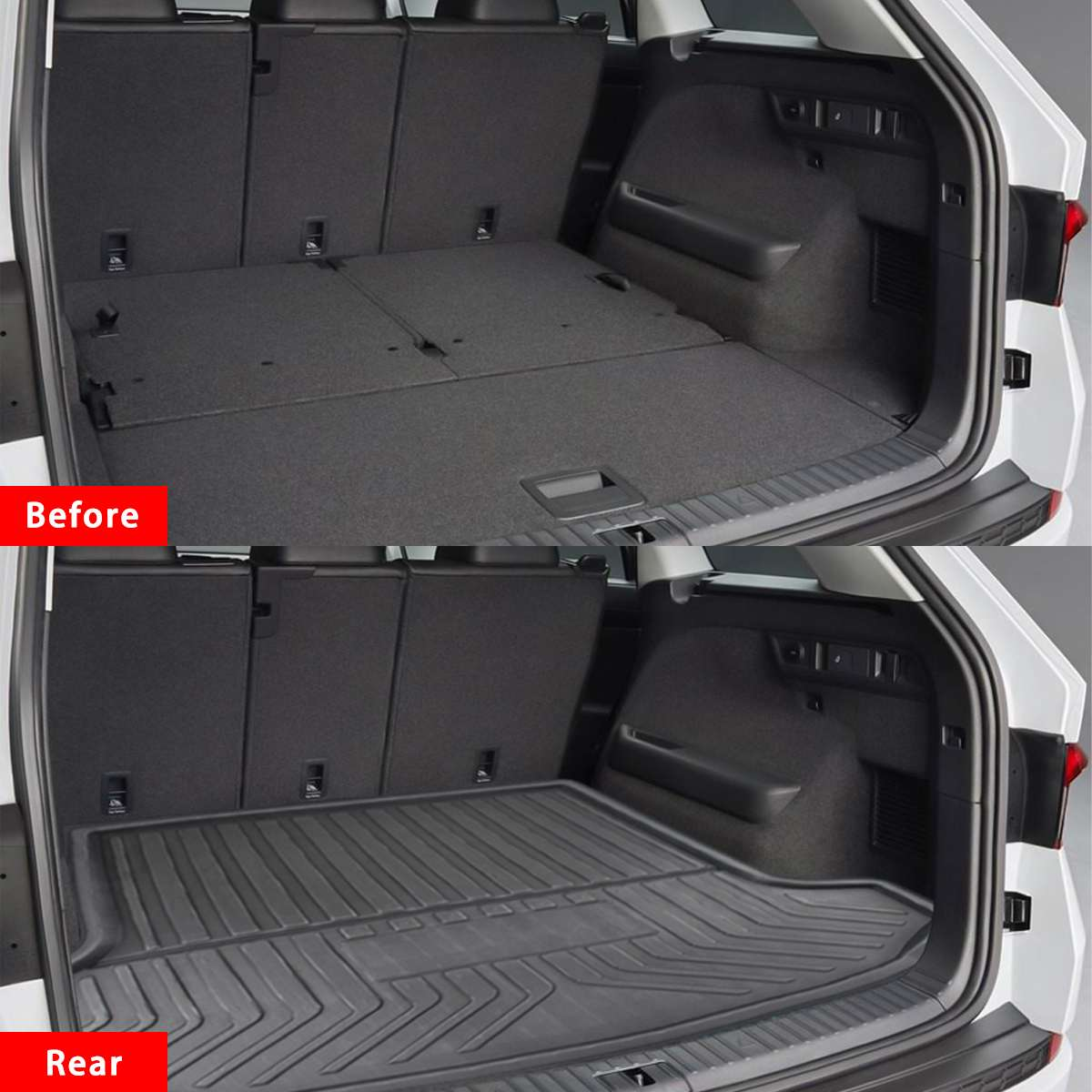 Car Cargo Liner Boot Tray Rear Trunk Cover Matt Mat Floor Carpet Kick Pad For SKODA Kodiaq 5/7 Seat Seater 2017 2018 2019
