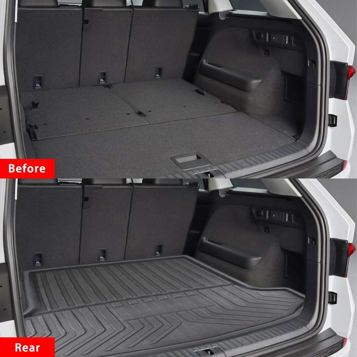Car Cargo Liner Boot Tray Rear Trunk Cover Matt Mat Floor Carpet Kick Pad For SKODA Kodiaq 5/7 Seat Seater 2017 2018 2019