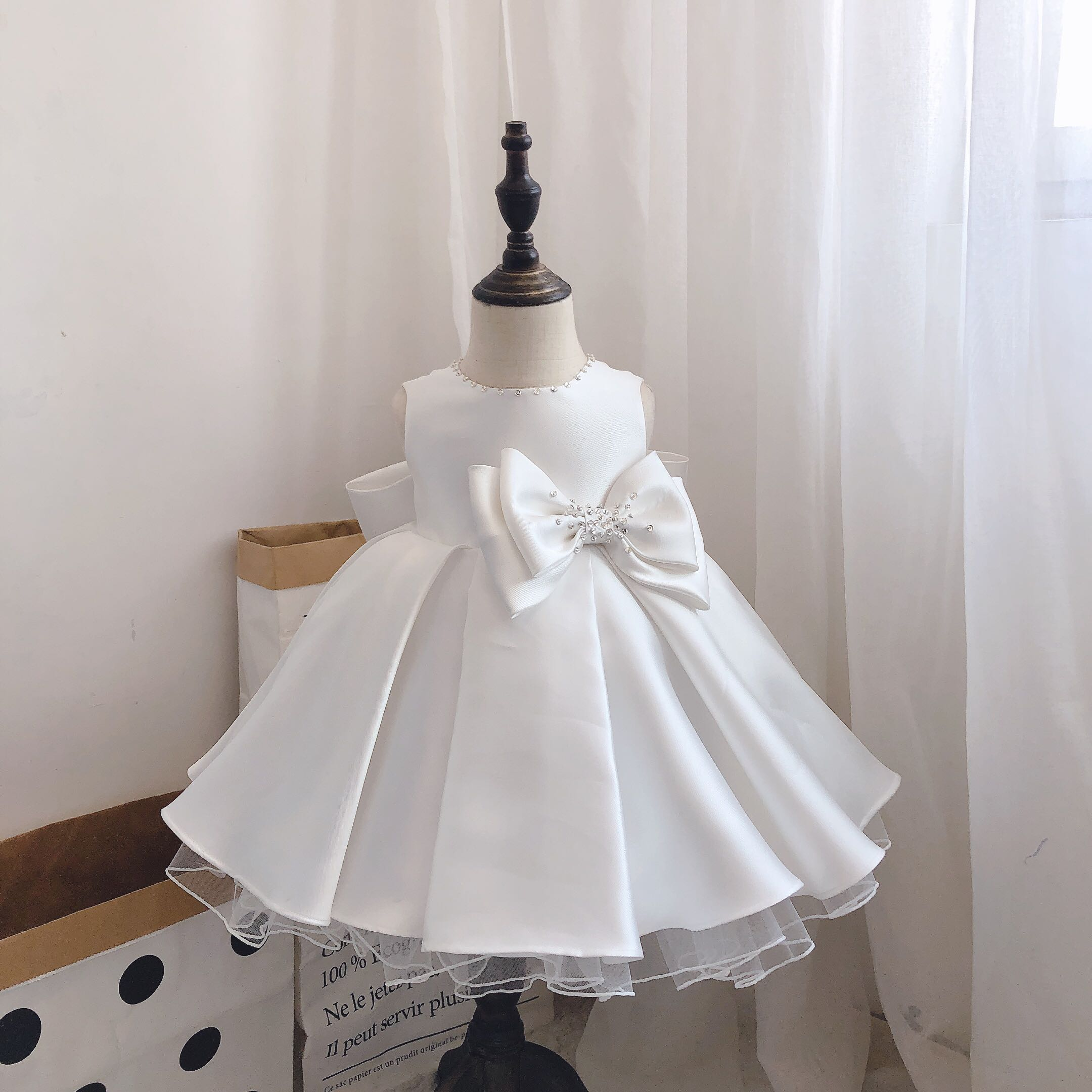 Newborn Baby Girls Party Baptism Dresses Beads Lace Bow Christening Special  Occasions Gown for Infant Baby Girl 8 Year Birthday