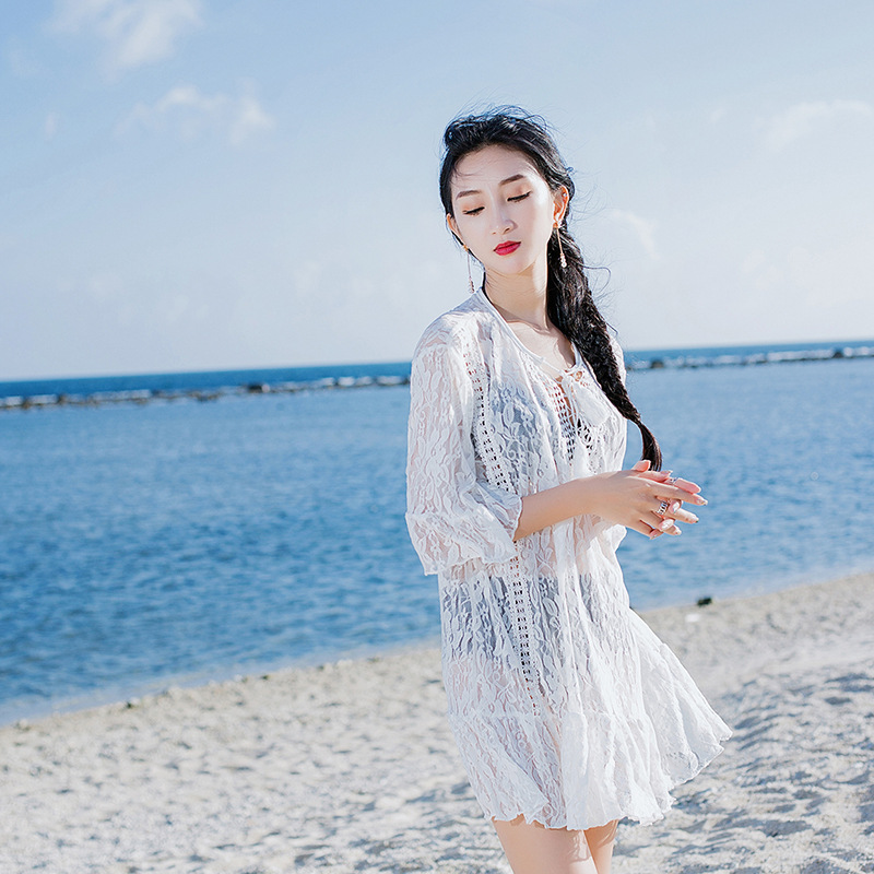 2018 Europe And America New Style Seaside Bikini Sun-resistant Blouse Transparent Pleated Beach Skirt Sexy Elegant Hundred