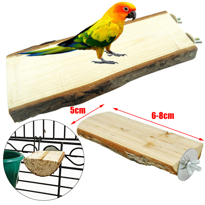 Parrot Wood Perch Hanging Cage Stand Platform Bird Hamster Round Toys Rack Bite