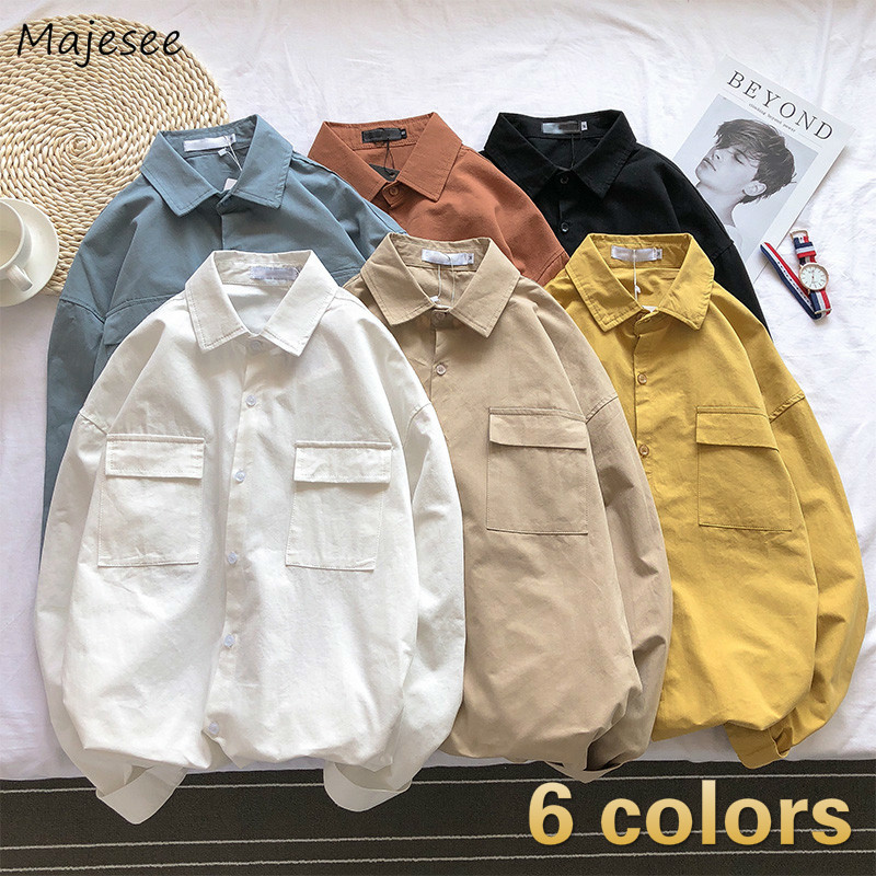 Men Shirts Pocket Solid Chic Mens Long Sleeve All-match Retro Loose Trendy Korean Style Harajuku Simple Ulzzang Daily Outwear