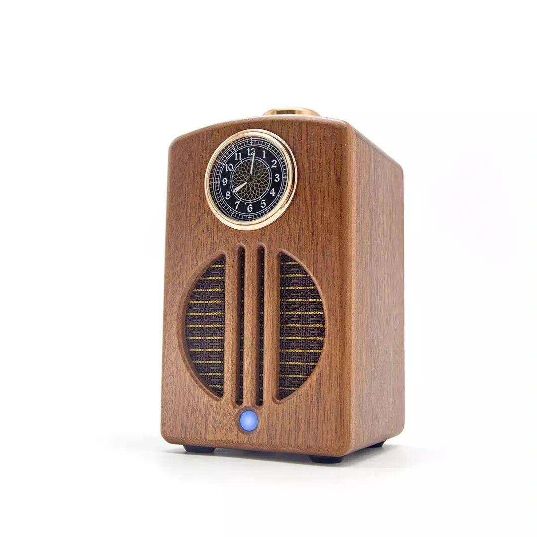 20W high power bluetooth speaker retro wooden clock speaker portable deep bass column TWS stereo subwoofer music player boom box