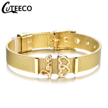 все цены на Fashion Gold Color Stainless Steel Mesh Bracelet Set Gold Double Heart Charms Pan Bracelet Bangle for Woman Jewelry Gifts