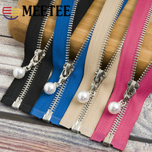 Meetee 20/80/120CM 5# Metal Zipper Pearl Zip Slider Womens Open-end Zippers For Clothes Coat Sewing Crafts Tools AP541