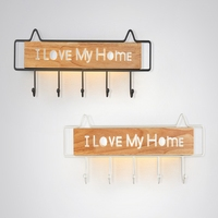 Nordic wall lamp corridor creative letter log coat and cap setting lamp latchkey entry porch I love my house hook wall lamp