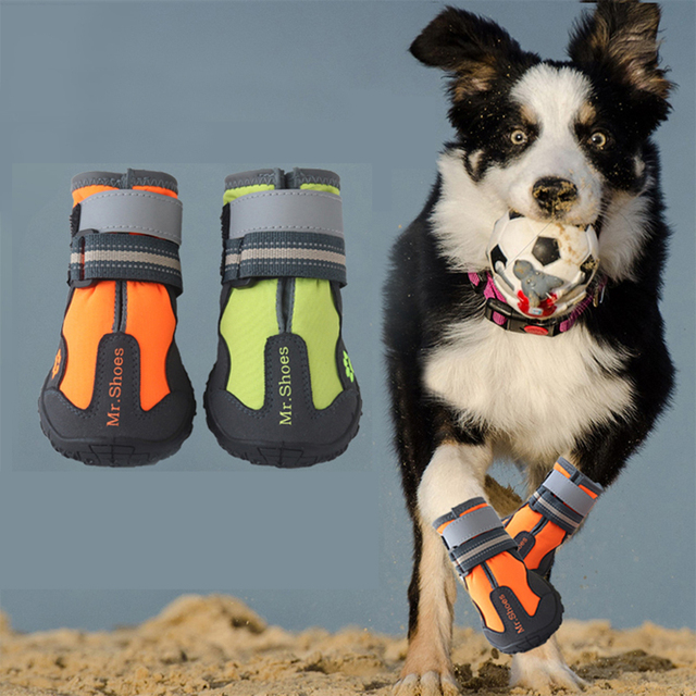 Waterproof Black Dog Shoes For Large Dogs Anti-slip Shoes Hiking Dog Clothing & Shoes For Yorkshir Orange Winter Shoes For Dogs 6