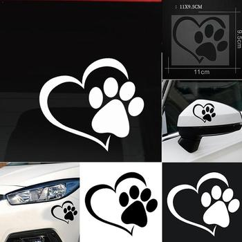 Car Sticker Cute Cartoon Dog Paw With Peach Heart Car Animal Pet Accessories Decal Dog Car Love Sticker Cat image