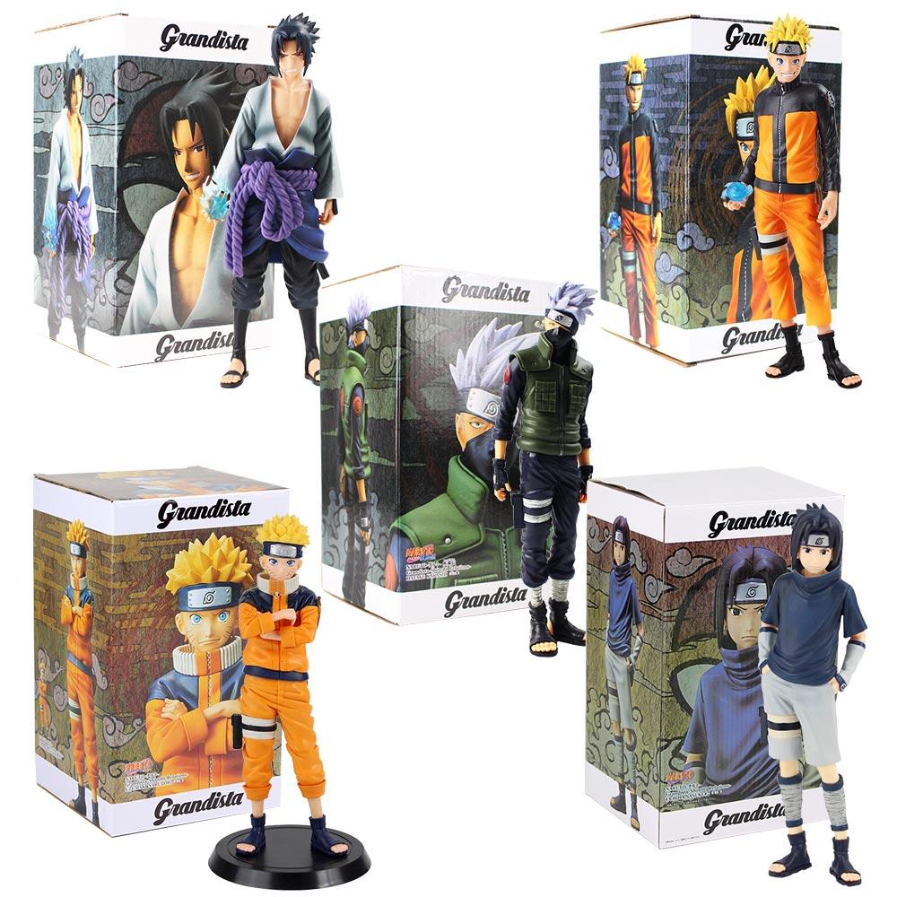 28cm Anime Naruto Figures Uzumaki Naruto Uchiha Sasuke Hatake Kakashi Grandista Collectible Model Toys PVC Figurine
