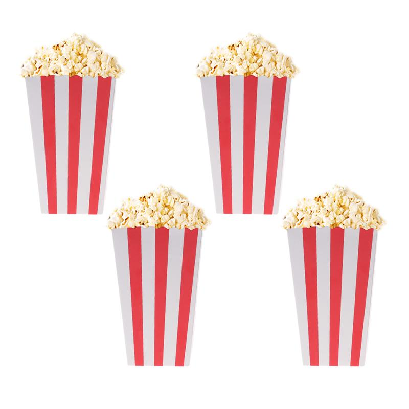 24pcs Popcorn Boxes Holder Containers Cartons Paper Bag Stripe Box for Movie Theater Dessert Tables Wedding Favor Party Supplies