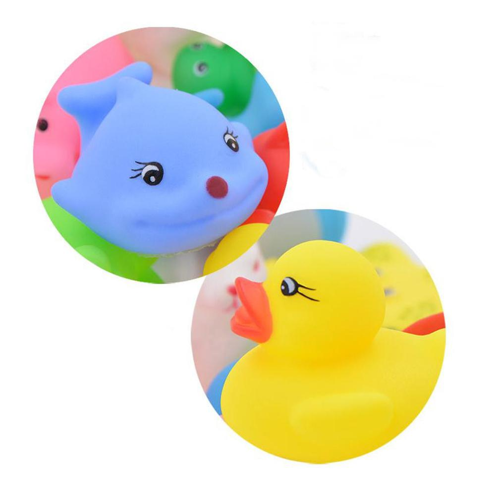 12PCS/Set Bath Toy Animals Swimming Water Toys Mini Colorful Soft Floating Rubber Duck Squeeze Sound Funny Gift For Baby Kids