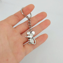 Hzew Zarif sevimli karikatür fare anahtarlık Antik gümüş sıçan anahtarlık hediye çocuklar için