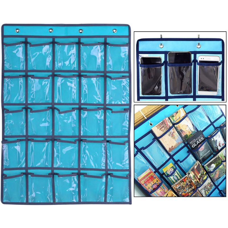 25 Clear Pockets Classroom Pocket Chart For Teacher Cell Phones Holder Door Hanging Calculator Organizer