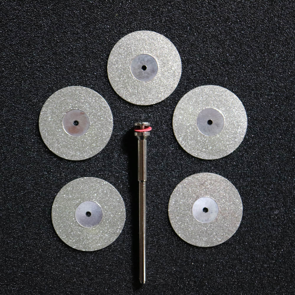 5 Pcs Dental Lab Diamond Disc Disks Double Sided Grit Cutting Disc Tool Diameter 22mm Thickness 0.25mm With 1 Mandrels