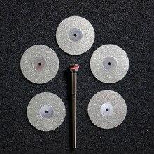 5 pcs שיניים מעבדה יהלומי דיסק דיסקים כפול צדדי חצץ חיתוך דיסק כלי קוטר 22mm עובי 0.25mm עם 1 mandrels