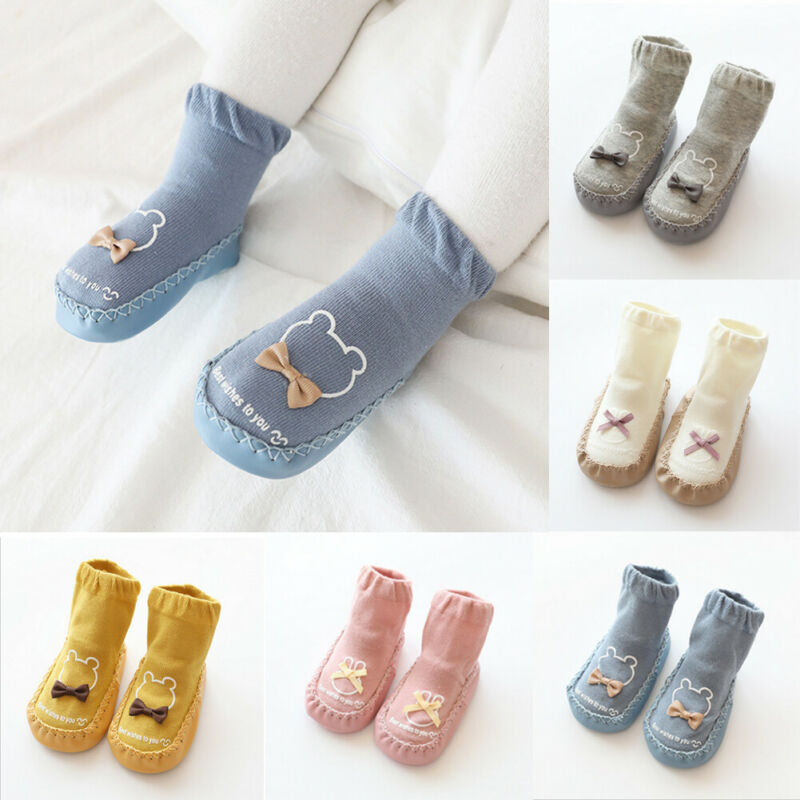 Cartoon Animal Baby Socks Shoes Anti-slip Rubber Soles Cotton Floor Socks Toddler Baby Shoes Autumn Winter Kids Booties Flats