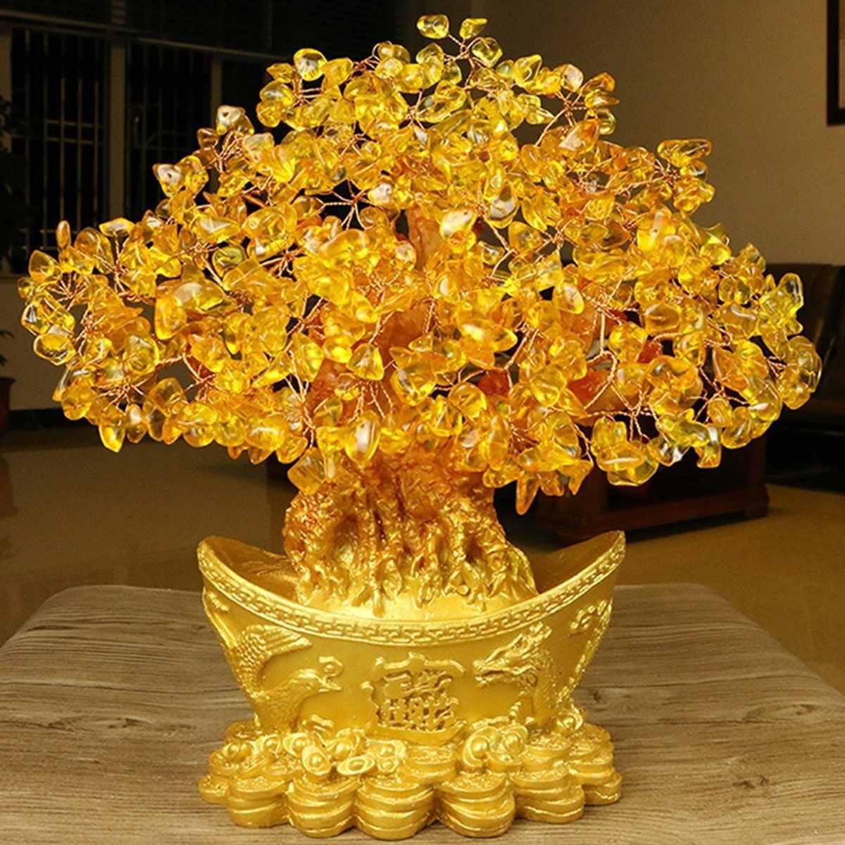 Extra grande ouro natural citrino sorte dinheiro árvore dinheiro vaca artesanato de negócios nova casa presente lingote decoração da árvore escultura