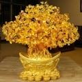 Очень большой золотой натуральный цитрин счастливые деньги дерево наличные корова бизнес ремесло новый домашний подарок слиток дерево укр...