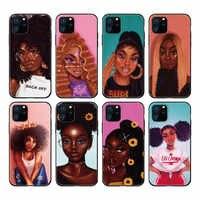 Funda de silicona blanda Afro Popi para iPhone, protector de melanina con cabeza negra para iPhone 11 Pro Max X XS XR Max 7 8 7Plus 8Plus 6S SE