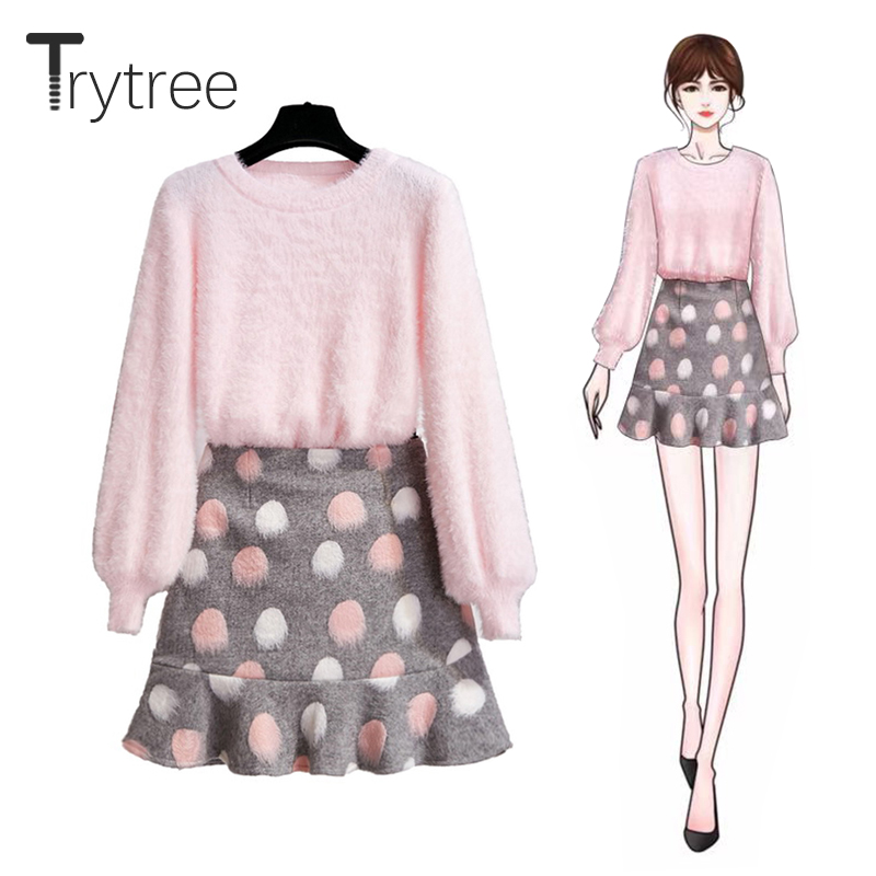 Trytree Autumn Winter Two Piece Set Casual O-neck Lantern Sleeve Top + Skirt Mini A-line Fashion Office Lady Set 2 Piece Set